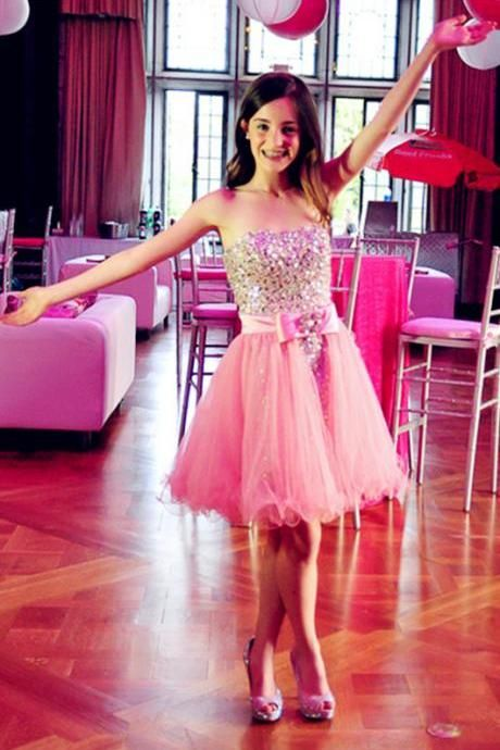 cheap Pink Beading Short Prom Dresses,Homecoming Dress, Homecoming Dresses On Sale