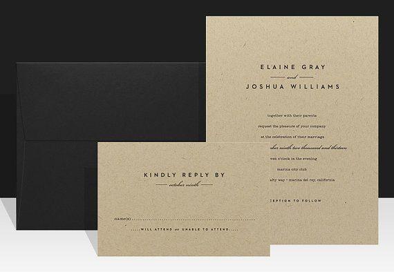 Wedding Invitation  Modern & Urban Wedding by Paperee on Etsy, $3.00