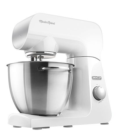 Sencor STM 40 WH stand mixer Mine is the color of the first flowers of spring. It is the color of peace, purity and innocence. It brings quiet joy and airiness that light up any space. I have a heart of steel, I'm driven by a reliable 1000W motor, and your wish is my command.