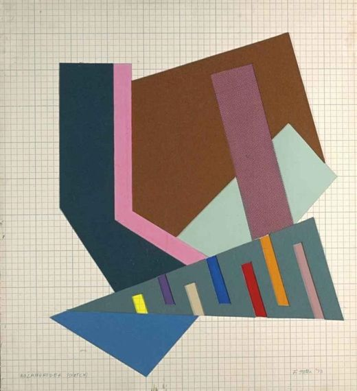 Artwork by Frank Stella, Kozangrodek, Made of acrylic and collage on fabric and felt pasteboard panel