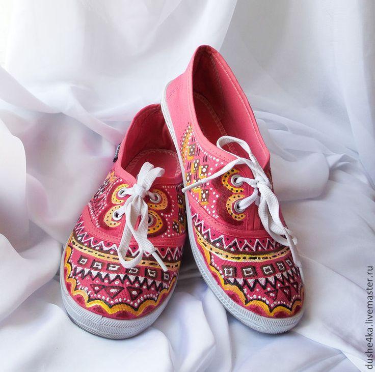 """Купить Кеды женские с рисунком на заказ """"Фламинго"""". Роспись - кеды, кеды женские, кеды с росписью"""