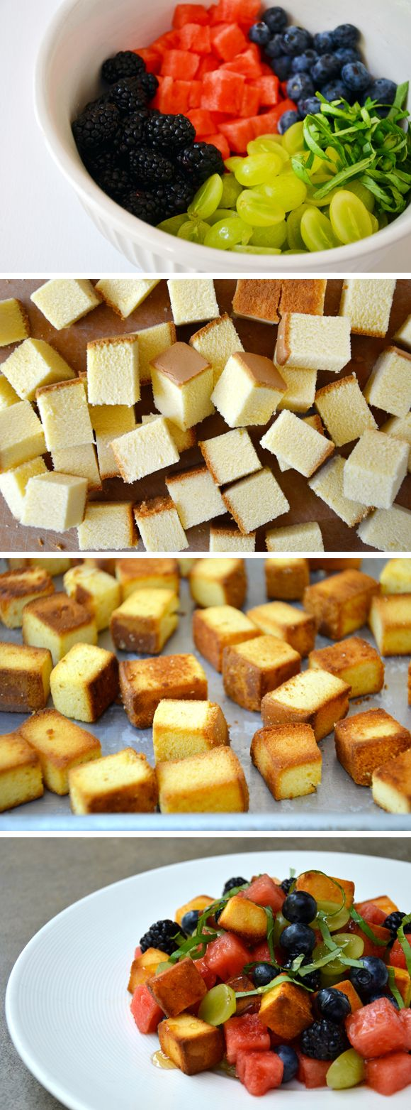Italian Fruit Salad with Pound Cake Croutons on @Gayle Robertson Roberts Merry Homes and Gardens Delish Dish #recipe