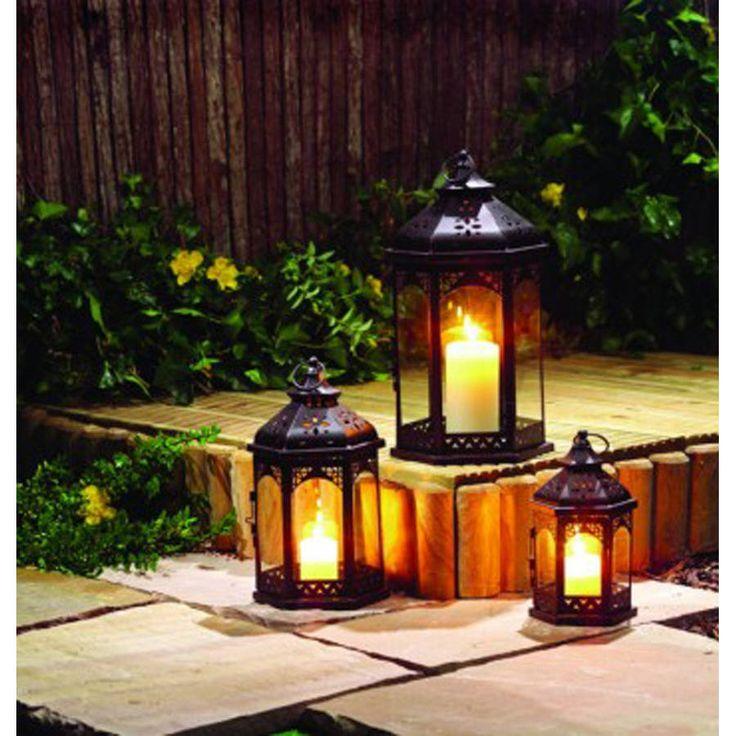 set of three zanzibar tealight candle lanterns by garden selections | notonthehighstreet.com