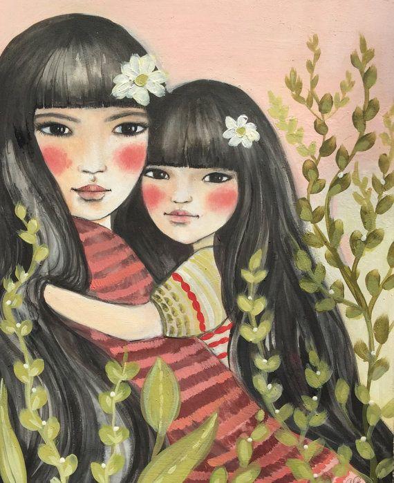 madre e hija en rosa