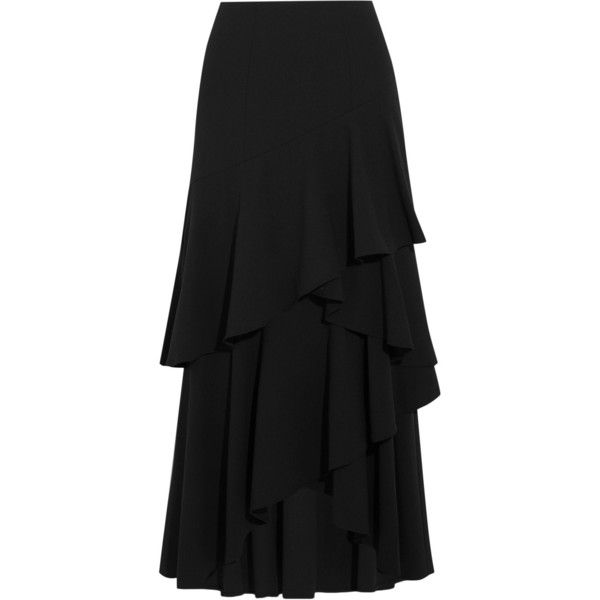 Alice + Olivia Martina asymmetric ruffled crepe maxi skirt (€335) ❤ liked on Polyvore featuring skirts, black, frill skirt, ankle length skirts, maxi skirts, alice olivia maxi skirt and long crepe skirt