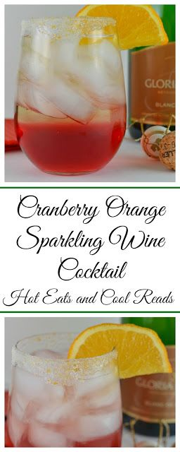 Perfect for elegant, but simple holiday entertaining! Full of delicious cranberry and orange flavor! Cranberry Orange Sparkling Wine Cocktail Recipe from Hot Eats and Cool Reads #BeGlorious #CG