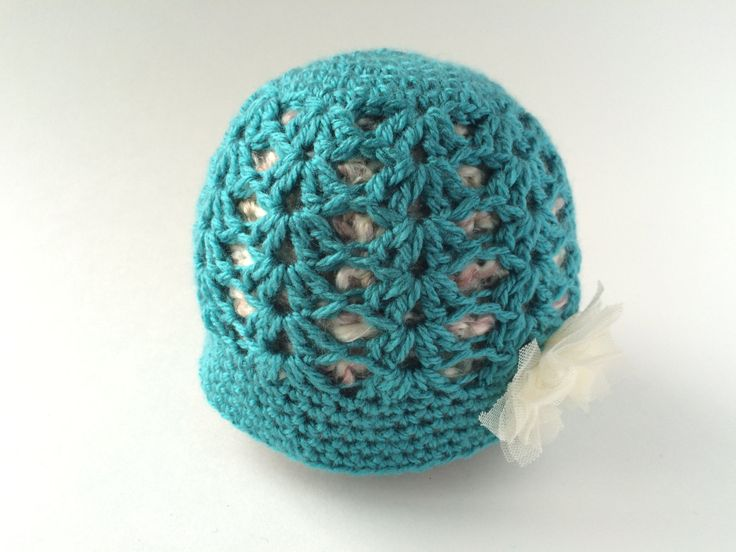 Size 3- 6 Month teal shell Beanie by hunnibeecrafts on Etsy