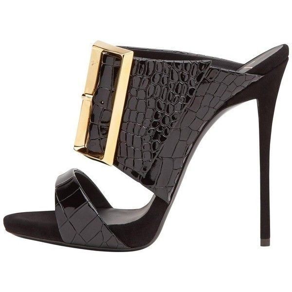 Preowned Newfound Luxury - Giuseppe Zanotti New Black Leather Gold... ($1,125) ❤ liked on Polyvore featuring shoes, black, heels, high heel shoes, gold evening sandals, gold heeled sandals, heeled sandals and gold evening shoes