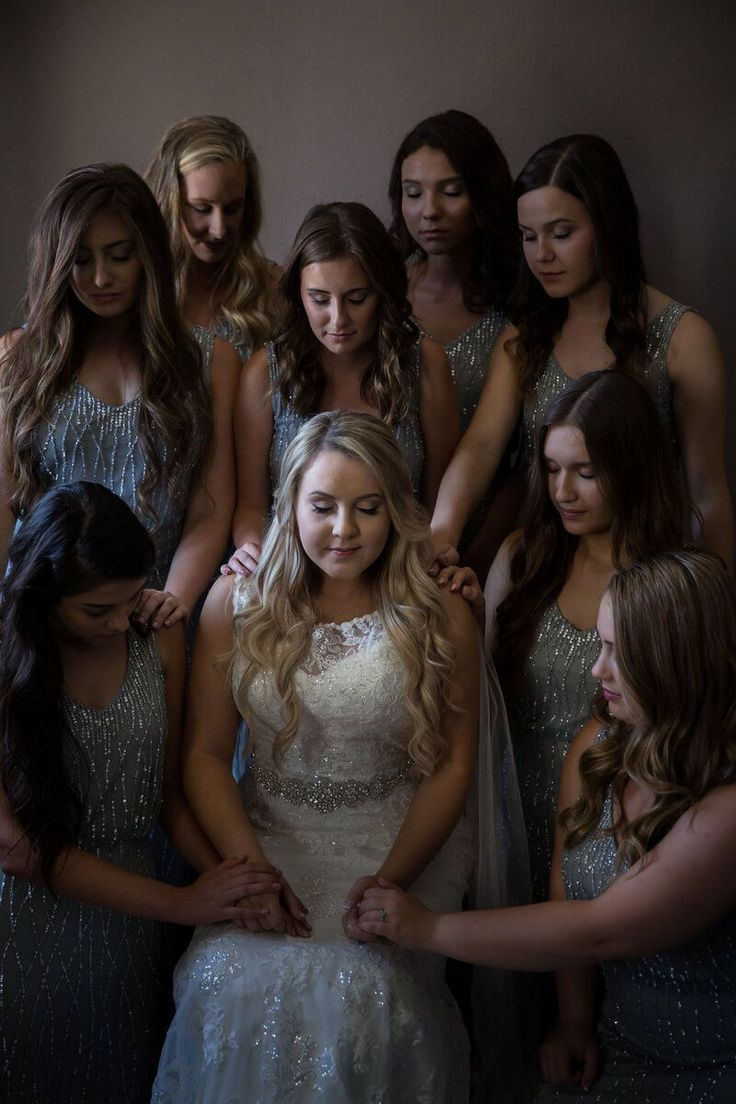 Rustic Elegant Outdoor California Wedding - praying bridesmaids