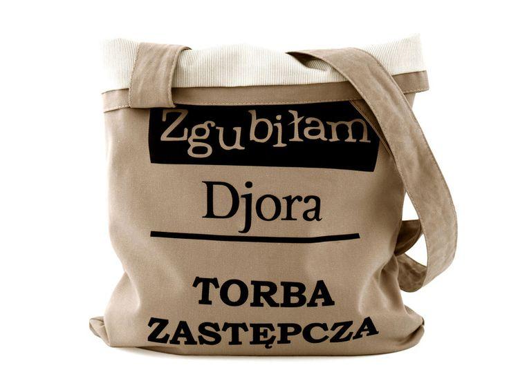 Torba bawełna Zgubiłam diora, podszewka, beżowa w Bajaga Studio na DaWanda.com