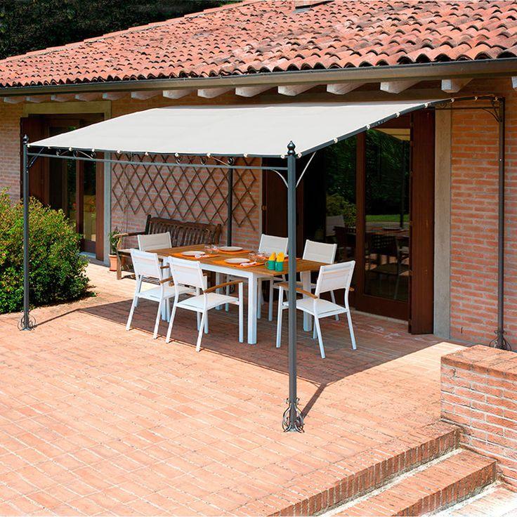 Gazebo pergola 4x3 giardino terrazza Top Design telo idrorepellente color sabbia gaz361