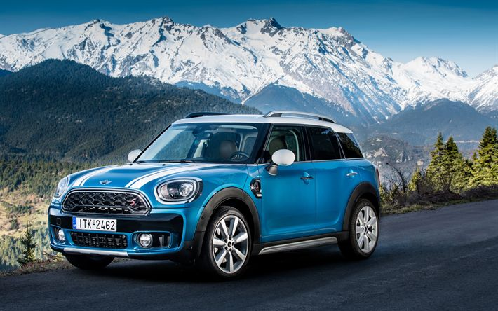 Download wallpapers 4k, MINI Cooper S Countryman, road, 2018 cars, crossovers, blue Countryman, MINI