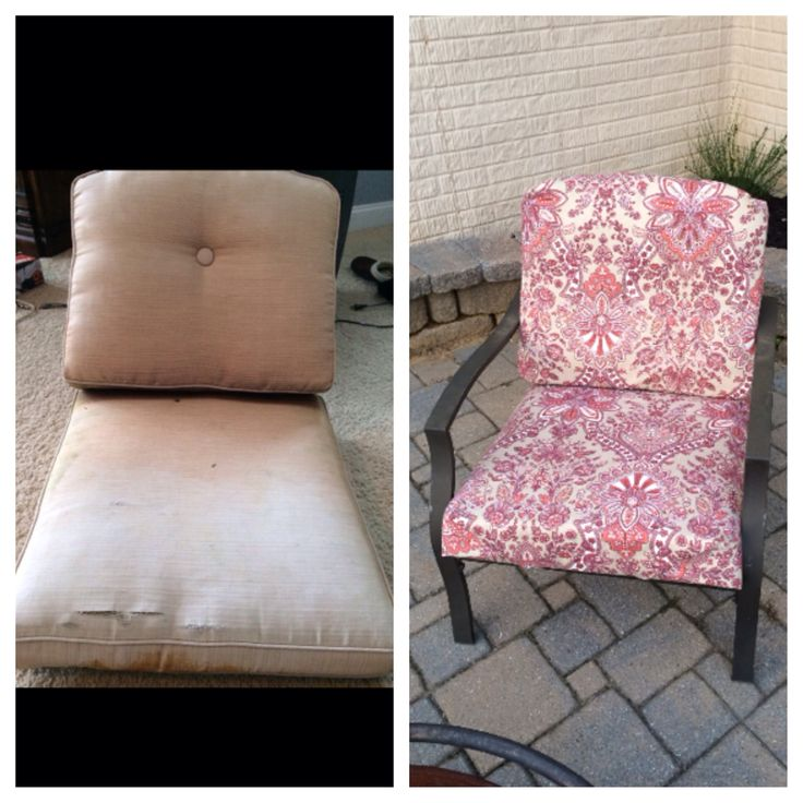 No sew patio cushion makeover.  Before and after. Covered them with fabric shower curtains on clearance for $8.99 from Kohl's! I cut the shower curtain in half, wrapped it around the cushion like a present, secure with hot glue, safety pins, stitch witchery, Velcro or sew if you like. Four shower curtains covered 2 chairs and a sofa. Quick fix for the hubby's 40th birthday party.