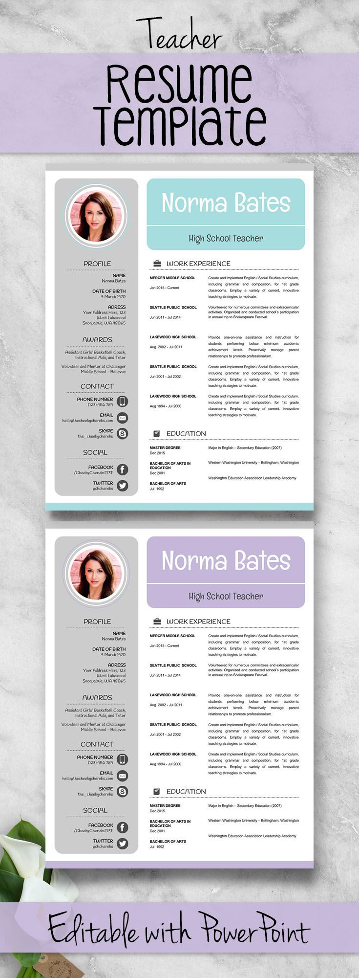 *** 3 *** VERSIONS OF Teacher Resume Template | Teacher CV Template + Cover and Reference Letters for MS Power Point