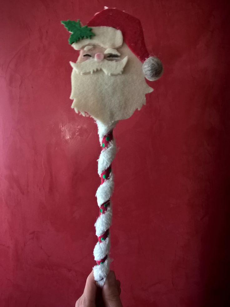 Cucchiaio di legno con Babbo Natale