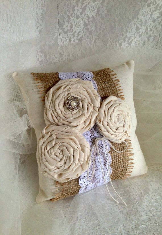 Rustic Ring Bearer Pillow, Rustic Wedding, Shabby Chic Ring Bearer Pillow by MoreThanLace.etsy.com Follow us on Instagram for daily chic wedding inspiration @MoreThanLace