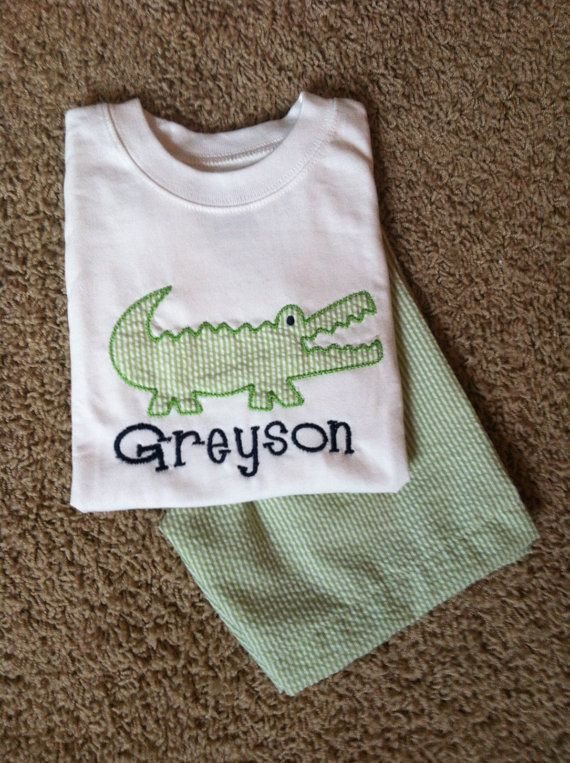 Monogrammed Personalized Boys 2 pc Alligator applique Shirt Shorts set