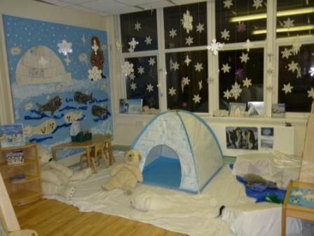 winter wonderland in the classroom.  So much fun!  You could do this at home too.