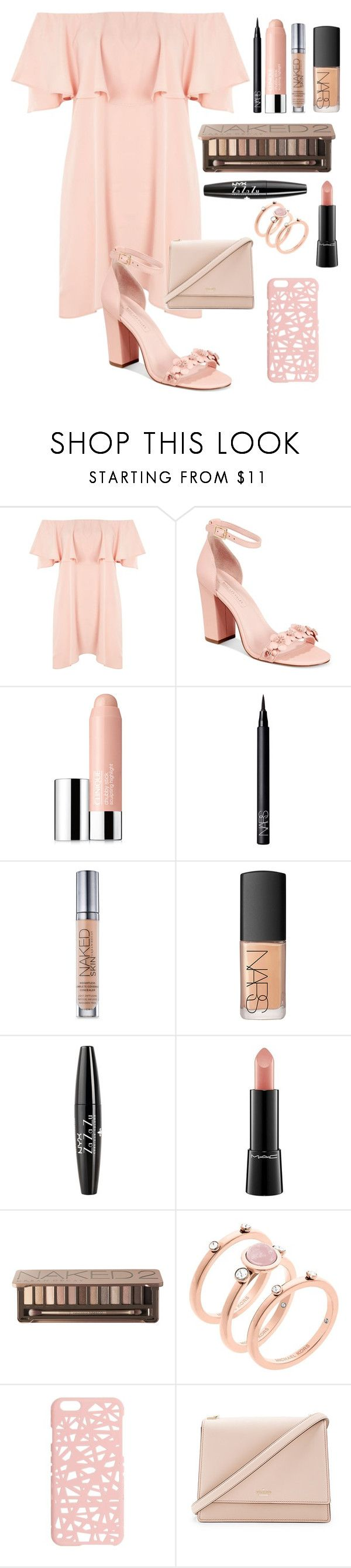 """""""Perfect Pink!"""" by simpli-chic-fashion ❤ liked on Polyvore featuring Topshop, Avec Les Filles, Clinique, NARS Cosmetics, Urban Decay, NYX, MAC Cosmetics, Michael Kors, Miss Selfridge and Kate Spade"""