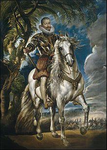 Retrato ecuestre del duque de Lerma, 1603, Museo del Prado, Madrid. Obra realizada durante la primera visita de Rubens a España, en 1603. Se trata de Francisco de Sandoval y Rojas (1553 - 1625), valido de Felipe III de España.