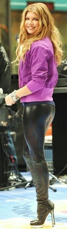 Fergie In Black Latex Pants