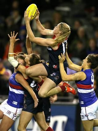 Tayla Harris takes a great mark at Etihad Stadium in 2014, when she was just 17.