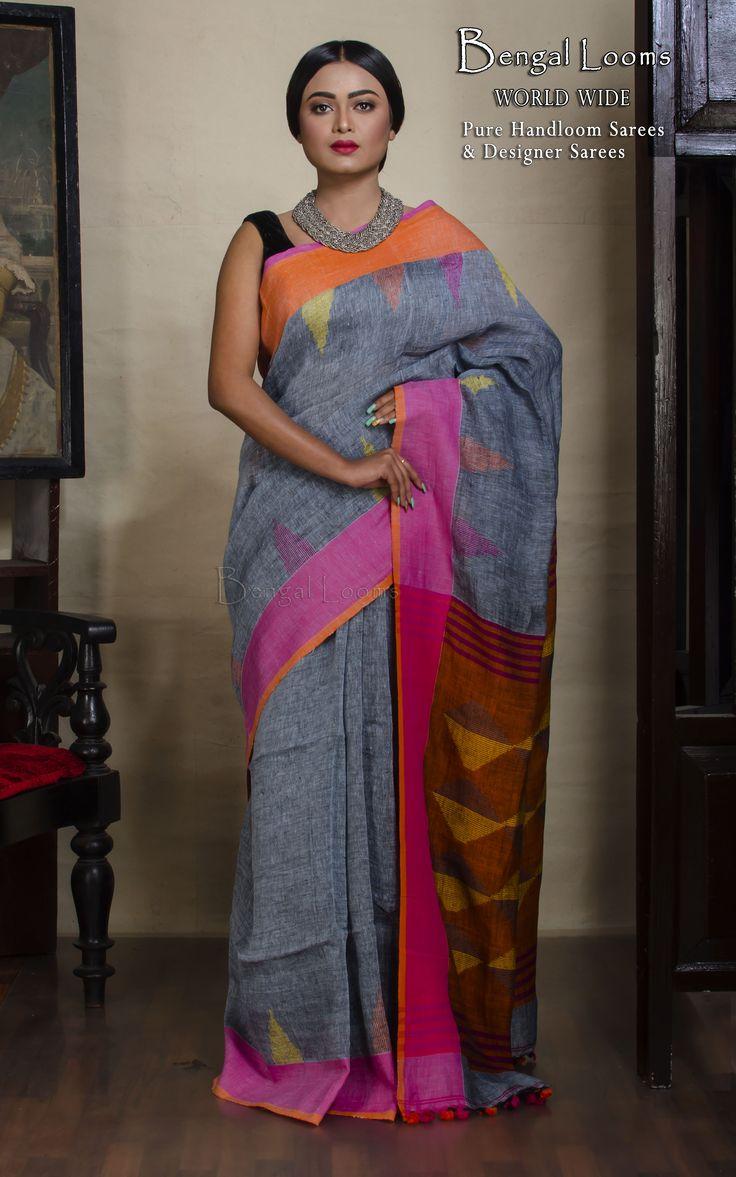 Beautiful Grey Color Pure Handloom Khadi Linen Jamdani Saree available for shipping from Bengal Looms