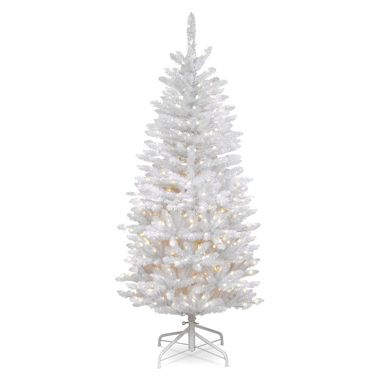 The White Artificial Christmas Tree Party Area Stand Wreath Decoration Set is an attractive alternative to the traditional green holiday tree. The pencil thin profile makes it a great choice for display in corners or limited space areas. It is pre-strung with 150 clear lights that remain lit even if a Bulb burns out. This two section tree features hinged branches for ease of assembly. Sturdy folding metal tree stand is included.