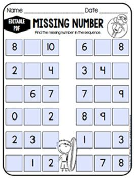 EDITABLE PDF Missing Number Worksheets by Miss Mandy | TPT (MyCreativeKingdom.com)