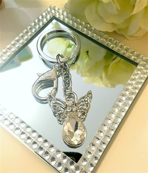 Bomboniere Silver Diamante Angel Keyring