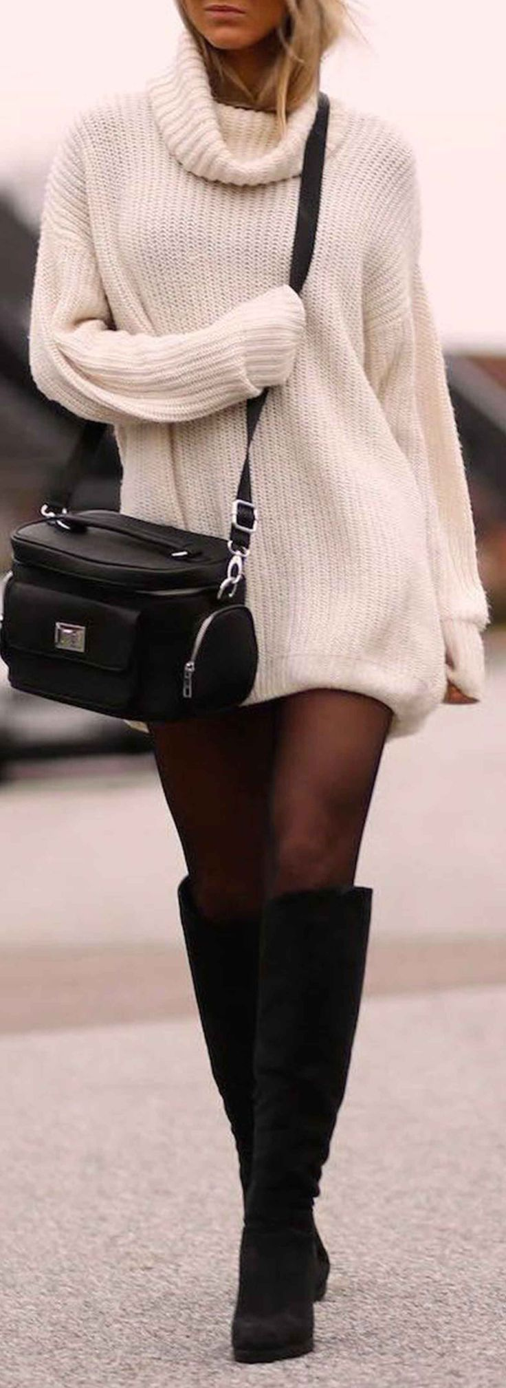 turtleneck sweater dress with black sheer tights and knee-high boots. #fashionista #ootd #blogger