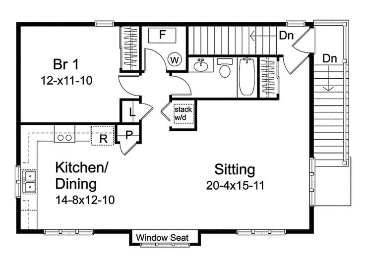 Garage Apartment Floor Plans | Timothy Open Garage Apartment Plan 058D-0148 | House Plans and More