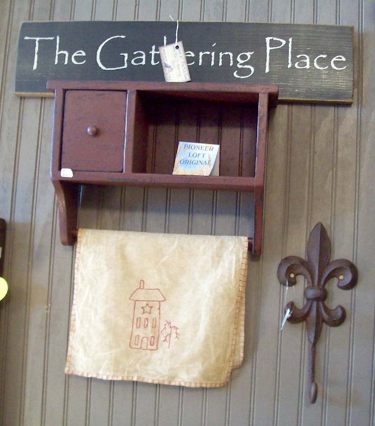 Primitive Painted Furniture | Country Primitive Painted Wood Furniture One Drawer Towel Bar Shelf in ...