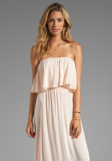 INDAH Havi Rayon Crepe Strapless Maxi Dress With Flounce Top in Petal