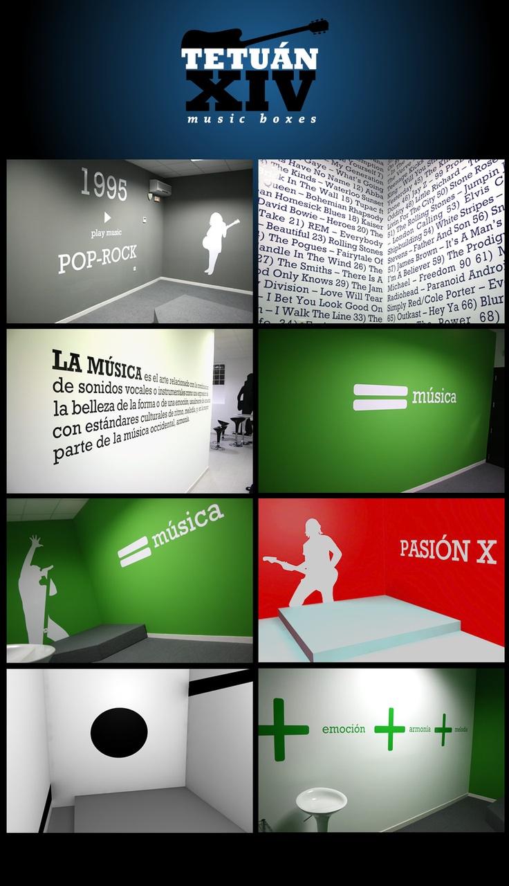 Intervención. Por medio de la tipografía y las siluetas se intervino el espacio, mostrando de manera dinamica, la música, sus géneros y conceptos de la misma