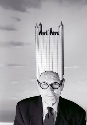 "Philip Johnson, an influential American architect. ""In 1930, he founded the Department of Architecture and Design at the Museum of Modern Art in New York City, and later (1978), as a trustee, he was awarded an American Institute of Architects Gold Medal and the first Pritzker Architecture Prize,[2] in 1979. He was a student at the Harvard Graduate School of Design."" (quote via Wikipedia)"