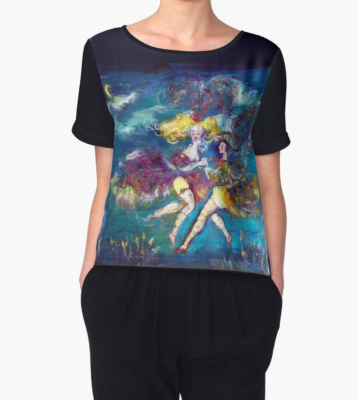 MASQUERADE DANCING  IN THE NIGHT Woman Chiffon Top by Bulgan Lumini