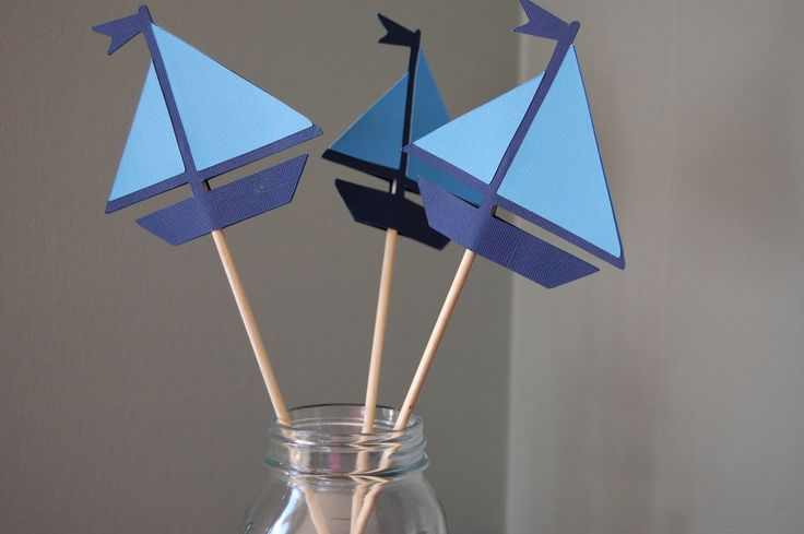 Sailboat Centerpieces, Nautical Centerpieces, 8 Pcs. $20.00, via Etsy.