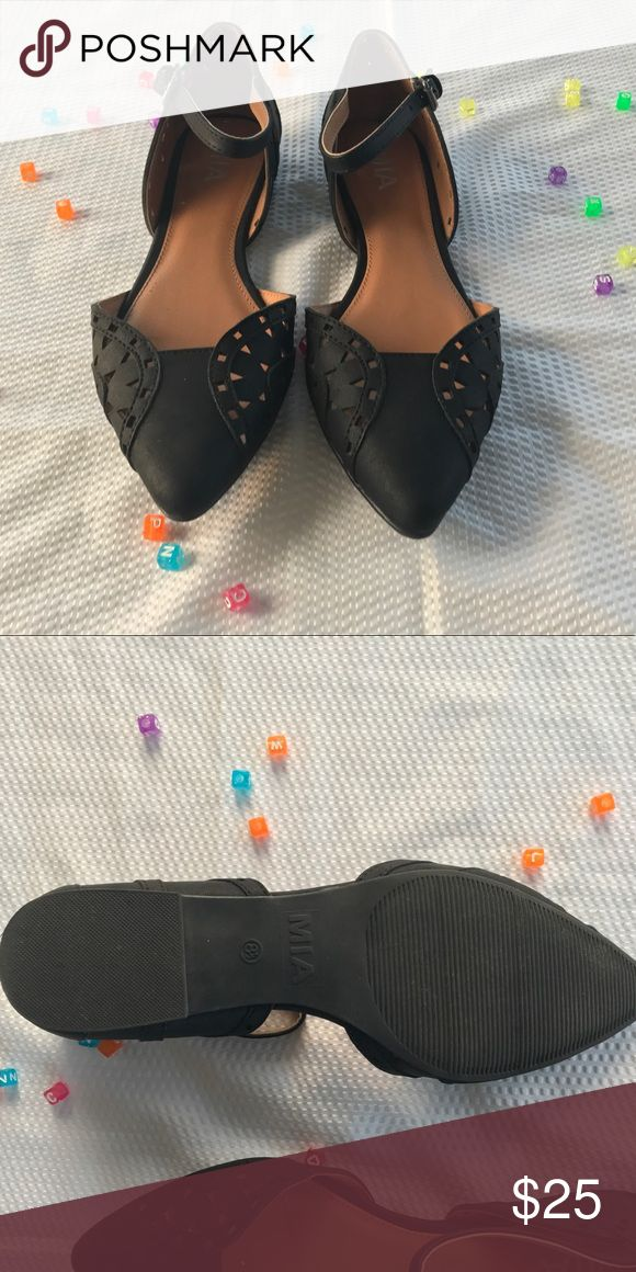 Mia Pointed Toe Ankle Strap Flats Laser cut-out detail, perfect condition. Worn Once, really comfortable, no need to break in. All man made Materials, study craftsmanship, open arch, ankle strap with size-able buckle. No visa blue sines of wear when worn. Mia Shoes Flats & Loafers