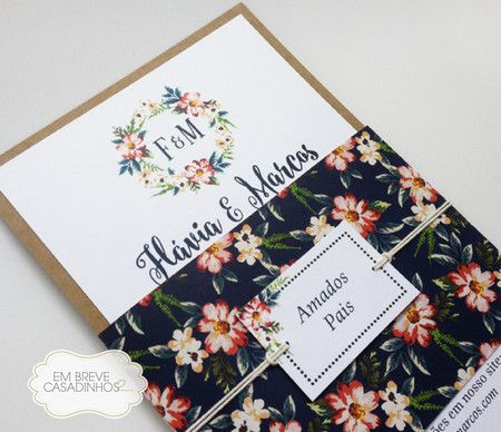 Convite Rústico Floral - Convite de casamento rústico, convite de casamento floral