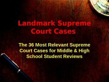 This is a power point presentation that summarizes the 36 most significant Landmark Supreme Court cases that are most often reviewed in Middle and High School.The cases were selected to compliment Florida SS.7.C.3.12, but also go beyond those requirements to include other states and high school.