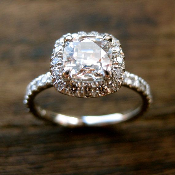 Natural White Sapphire Engagement Ring in Platinum with Diamonds in Halo-Style Setting Size 6.5