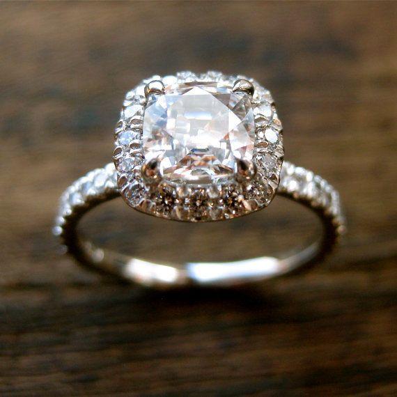 Non-diamond engagement ring. Love it!!! White Sapphire Engagement Ring in Platinum by AdziasJewelryAtelier