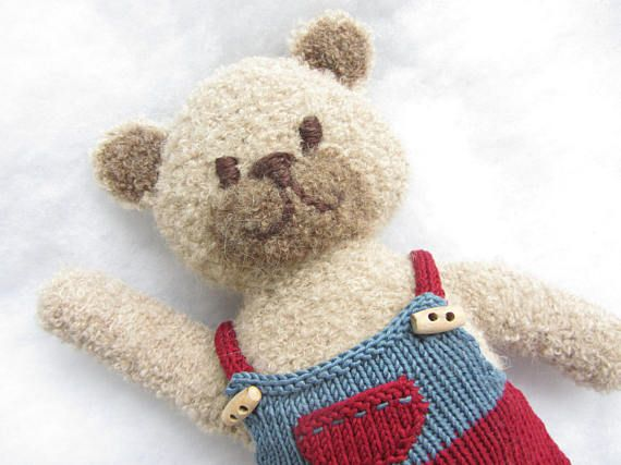 Hand knit alpaca boucle teddy bear with cotton outfit.