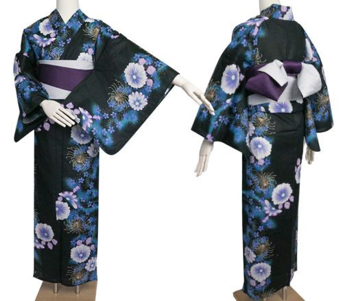 Japanese-Women-039-s-Traditional-YUKATA-KIMONO-Obi-Sandal-Set-JAPAN-fy22-Black-B-a