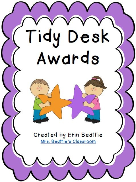 Fun Tidy Desk Award FREEBIE for Mrs. Beattie's Classroom blog followers! Reward your students for taking responsibility for their supplies and learning materials with these fun Tidy Desk Awards!