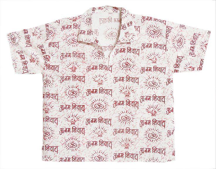 White Short Kurta with Om Namah Shivai Print (Cotton)