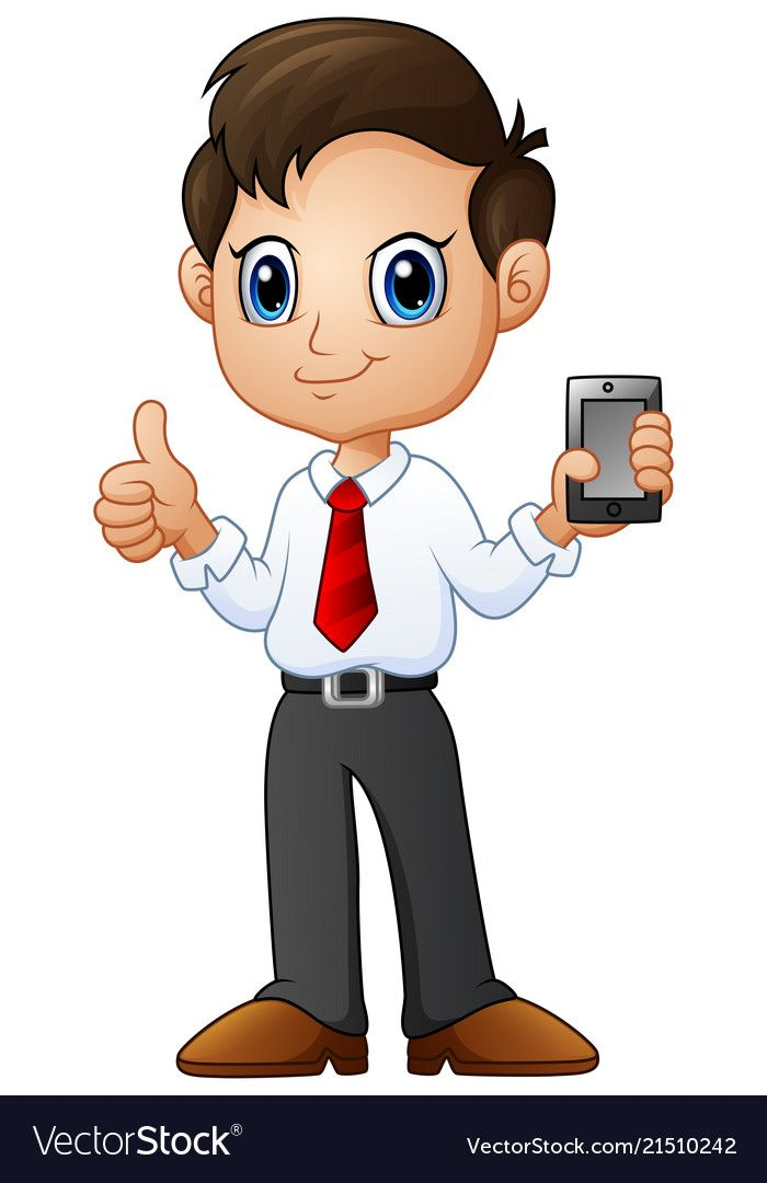 Cartoon Businessman Holding A Smartphone With Ok H Vector Image On