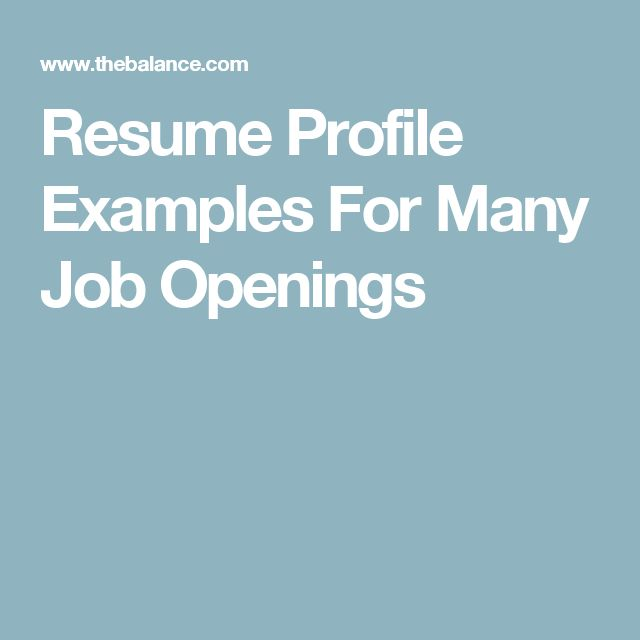 The 25+ best Resume profile examples ideas on Pinterest Resume - how to write a profile resume