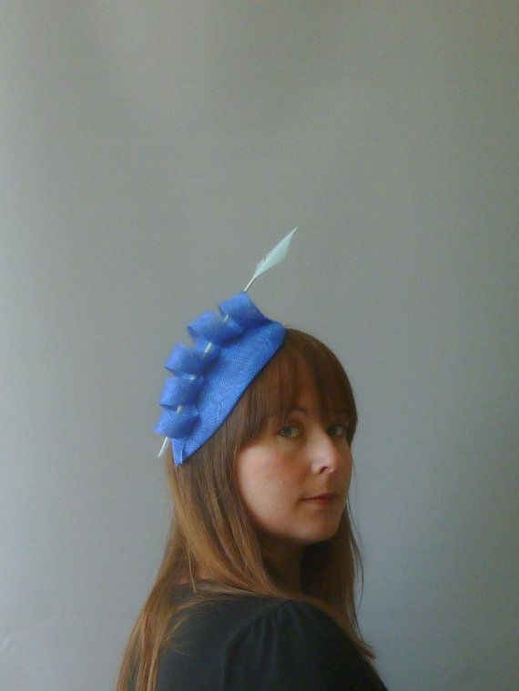 Royal Blue Fascinator Cocktail Hat. Sinamay Straw by SophieShields, £30.00